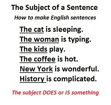 What is a subject: English basics